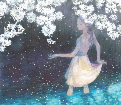 Meisje Dat In Het Water Staat Met Witte Bomen Boven Haar Hoofd Voor Wie Afstand Nemen Noodzakelijk Is