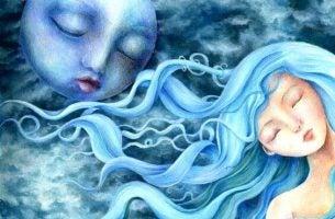 Meisje Met Blauw Haar En De Maan Die Kalm Blijven Naast Elkaar