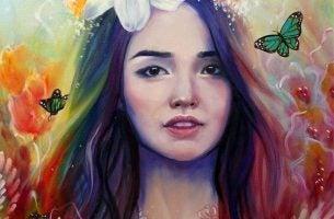 Kleurrijke Afbeelding Van Een Meisje Met Een Bloem In Haar Haar En Vlinders Om Zich Heen Dat De Weg Naar Emotionele Onafhankelijkheid Gevonden Heeft