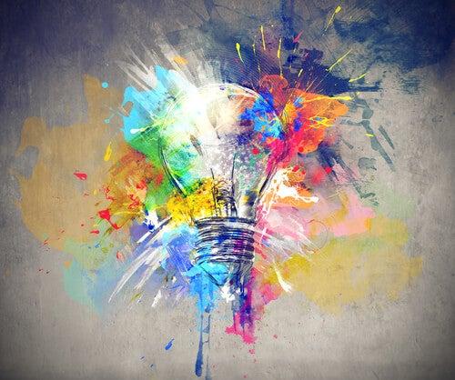 Gekleurde Gloeilamp Als Symbool Voor Creatief Begaafde Mensen