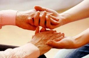 Handen Vasthouden In Thema Zorg Voor Jezelf Om Te Kunnen Zorgen Voor Een Ander