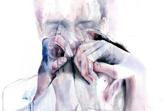 Man Die Met Zijn Handen Zijn Tranen Wegveegt Omdat Hartverscheurend Huilen Soms Opluchting Biedt