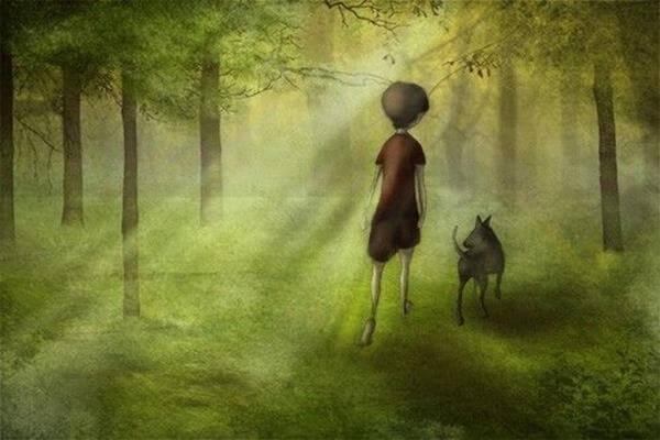 Jongetje Dat Met Zijn Hond Door Het Bos Loopt Voordat Hij Over De Regenboogbrug Moet