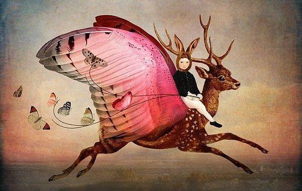 Meisje Met Konijnenoren Dat Rijdt Op Een Hert Dat Vleugels Heeft Als Voorbeeld Van Het Belang Om Onze Creativiteit Te Verzorgen