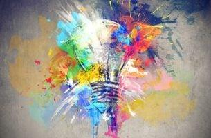 Schilderij Van Een Gloeilamp Met Allemaal Kleuren Want We Moeten Onze Creativiteit Verzorgen