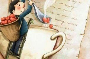 Man Die Lepeltjes Met Hartjes Gooit In Een Bakje Koffie Want Als Ze Van Je Houden, Zetten Ze Koffie Voor Je