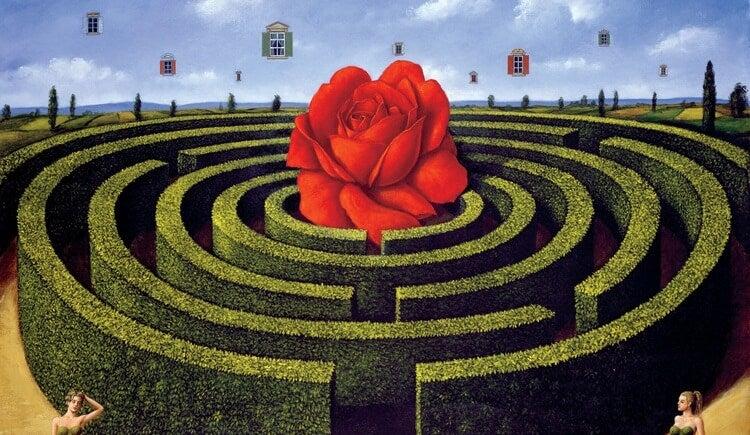 Een Rond Doolhof Met Een Roos In Het Midden Dat Ons Doet Afvragen, Wat Is Mijn Geluk Waard