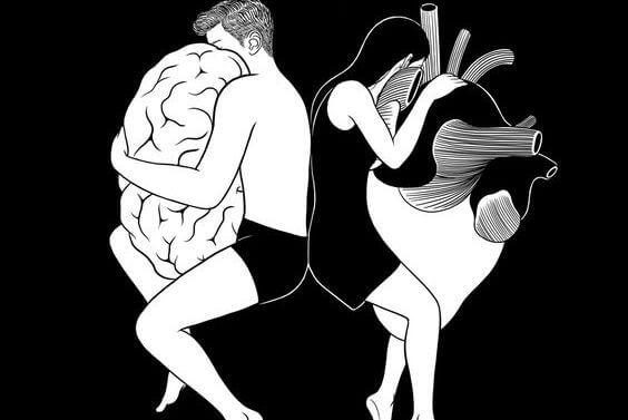 Een Man Die Zijn Hersenen Omhelst En Een Vrouw Die Haar Hart Omhelst Waardoor Ze Een Voorbeeld Zijn Van De Ezel Van Buridan