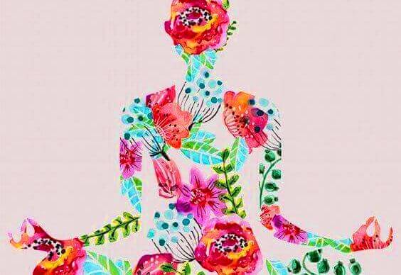Met Bloemen Versierde Vrouw Die Zit Te Mediteren Want Zij Heeft Gehoord Je Kunt Je Geest Ontspannen Met Meditatie