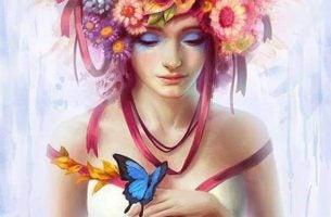 Meisje Met Bloemen In Haar Haar En Een Vlinder Op Haar Vinger Die Tegen Haarzelf Heeft Gezegd Je Mag Je Eigen Licht Laten Schijnen