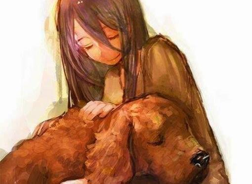 Meisje Dat Knuffelt Met Haar Hond Voordat Hij Over De Regenboogbrug Moet