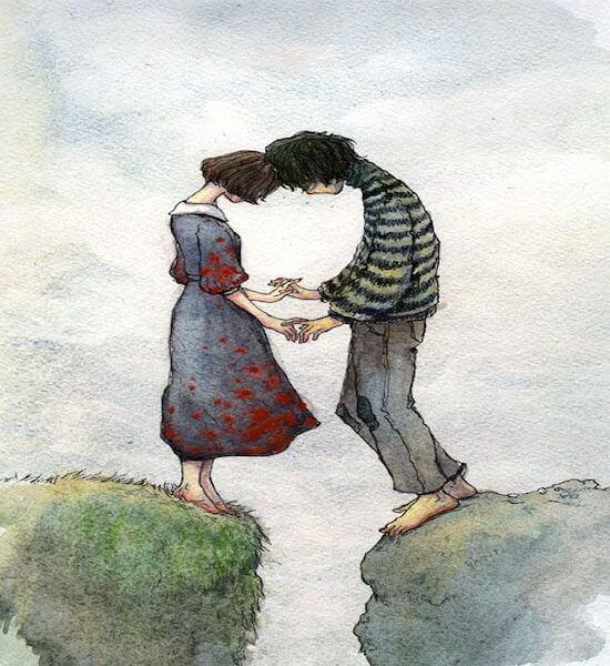 Meisje En Jongen Die Aan De Rand Van Een Ravijn Staan En Elkaars Handen Vasthouden En Niet Loslaten