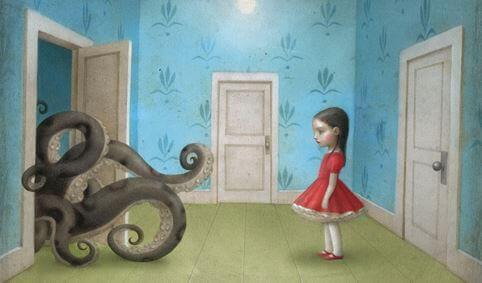 Meisje Dat Kijkt Naar Een Octopus Die Haar Kamer Binnendringt