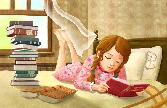 Meisje Dat Op Haar Bed Ligt Te Lezen