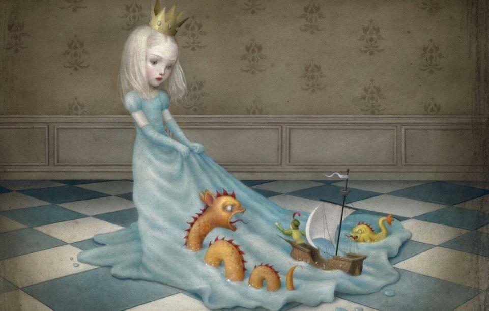 Prinsesje Wiens Jurk Een Zee Vorm Waar Monsters In Zitten