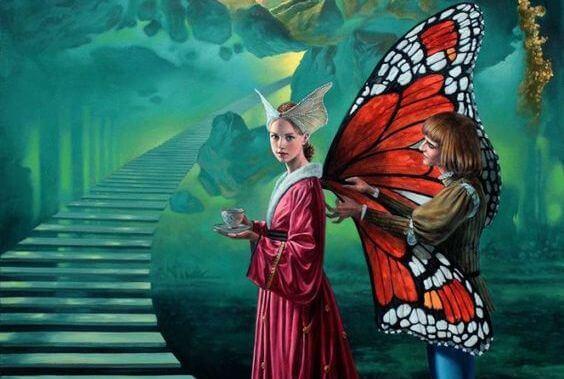 Vlinder Meisje In Fantasiewereld Die Op Het Punt Staat Een Duistere Trap Te Beklimmen Want We Moeten De Negatieve Emoties Verslaan Die Ons Lastigvallen