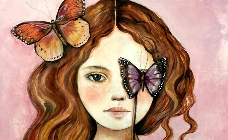 Meisje Met Een Vlinder In Haar Haar En Voor Haar Oog Dat Zich Niet Laat Raken Door De Dieven Van Onze Energie