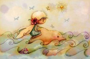 Meisje Dat Op Een Dolfijn Zit Als Symbool Voor De Individuele Vrijheid Die De Montessori Leermethode Biedt