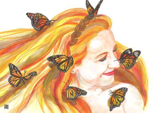 Vrouw met rood haar en vlinders in haar haar die glimlacht want geluk verspreidt zich door een glimlach