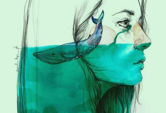 Vrouw Huilt Zee Aan Tranen