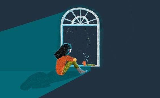 Meisje Kijkt Uit Raam Naar De Sterren En Weet Dat Wat Gebeurt Het Enige Was Dat Had Kunnen Gebeuren