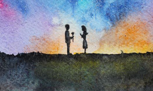 Mooie Nacht Waarin Twee Mensen Elkaar Ontmoeten Op een Dijk Omdat Ware Liefde Volwassenheid Vereist