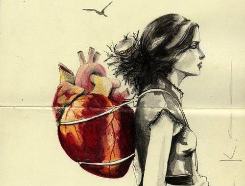Vrouw Die Haar Hart Als Rugzak Draagt En Misschien Wel Verblind Wordt Door De Blinddoek Van Liefde