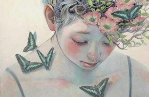 Meisje Met Bloemen In Haar Haar En Vlinders Op Haar Huid Dat Getroffen Is Door De Diepste Wonden