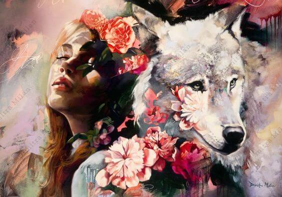 Meisje Naast Een Wolf Dat Denkt Ik Bezit Volharding