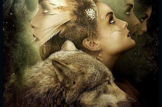 Gezicht Van Een Meisje Dat Nadenkt Over Haar Ingehouden Emoties En Een Wolf Die Haar Helpt Ze Eruit Te Gooien