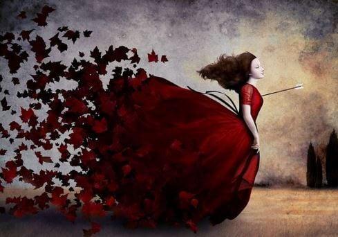 Vrouw Met Een Grote Rode Jurk Aan En Een Pijl In Haar Borst Voor Wie Het Te Laat Is Om Haar Leven Te Veranderen