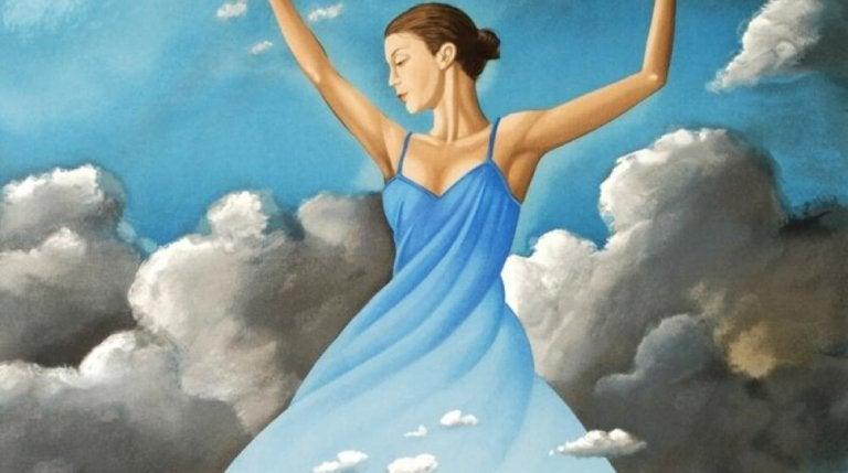 Vrouw Met Een Blauwe Jurk Aan Die In De Wolken Zweeft En Zich Afvraagt Wat Is Mijn Geluk Waard