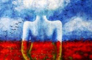 Vrouw Wiens Bovenlichaam Blauw Is En Haar Onderlichaam Rood Om Te Laten Zien Gevoelens Tasten Onze Maag Aan