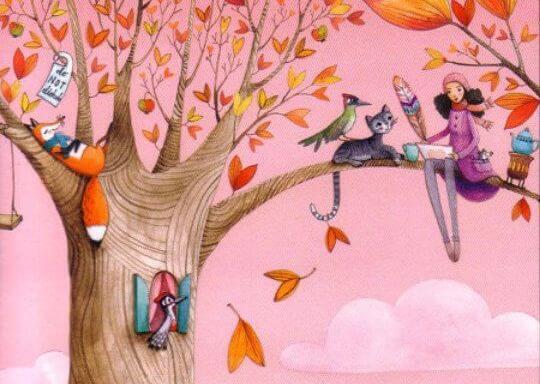 Meisje Dat Tijdens De Herfst Met Allerlei Dieren In Een Boom Zit Om Al Het Goede Te Ontdekken Dat Het Leven Te Bieden Heeft