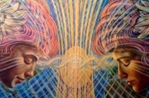 Afbeelding Van Een Man En Vrouw Die Via De Geest Met Elkaar Verbonden Zijn Omdat Ze Spiritueel Ontwaken