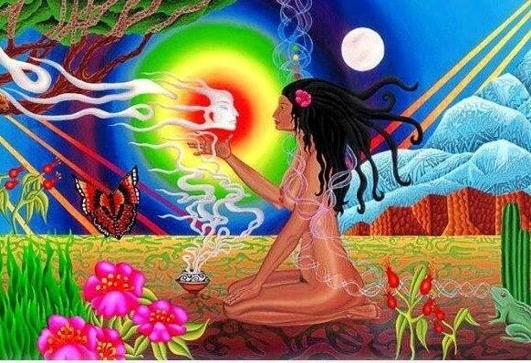Kleurrijke Afbeelding Van Een Naakte Vrouw In Een Paradijselijke Omgeving