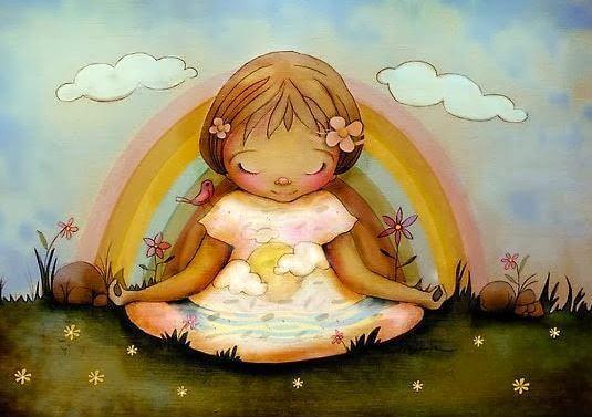 Meisje Dat Zit Te Mediteren Voor Een Regenboog