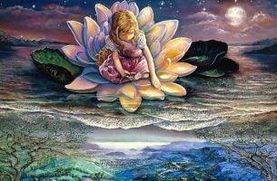 Tegenslag Overwinnen Als Deze Lotusbloem Waar Een Meisje In Zit