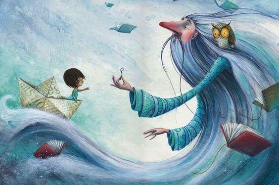Een kind met een tovenaar