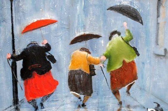 Oudere Dames Rennen Door De Regen
