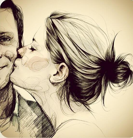 Intelligente Vrouw Die Haar Man Kust