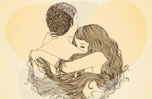 Twee Introverte Mensen Die Elkaar Liefhebben En Omhelzen