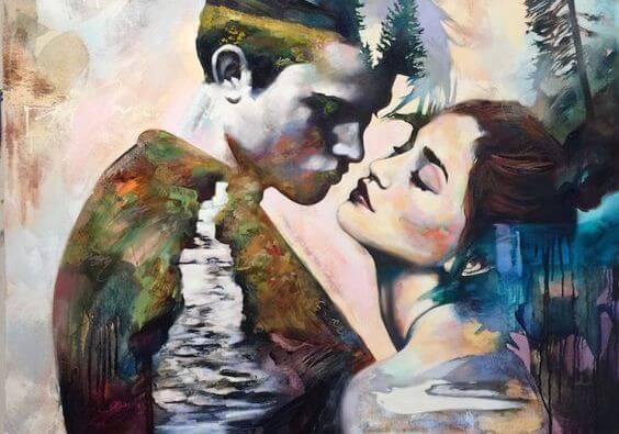 Schilderij Van Een Man En Een Vrouw Met Een Rivier Erdoorheen Die Denken Ik Bezit Volharding