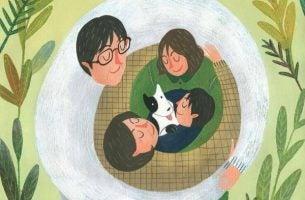 Briljante Ouders Die Knuffelen Met Hun Kinderen