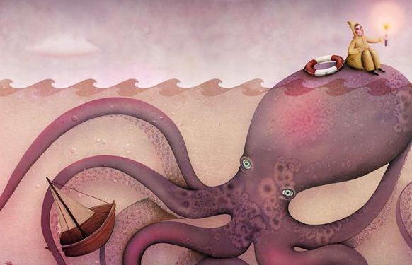 Man Die Op Een Octopus Zit Met Een Lantaarn In Zijn Handen Op Zoek Naar Al Het Goede
