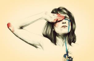 Verdrietige Vrouw Die Lijdt Aan Het Gebroken Hart-Syndroom