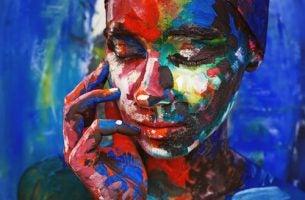 Kleurrijk Schilderij Van Vrouw Die Lijdt Onder Patriarchale Overtuigingen