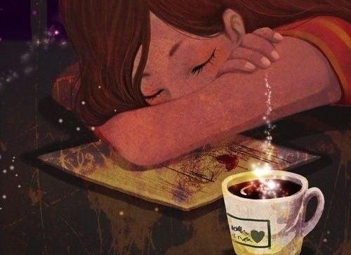 Meisje Dat In Slaap Is Gevallen Naast Een Magisch Kopje Koffie De Mensen Die Van Je Houden Zetten Namelijk Koffie Voor Je