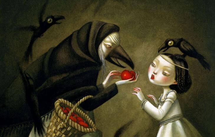 Boze Heks Die Een Appel Aan Sneeuwwitje Probeert Te Geven
