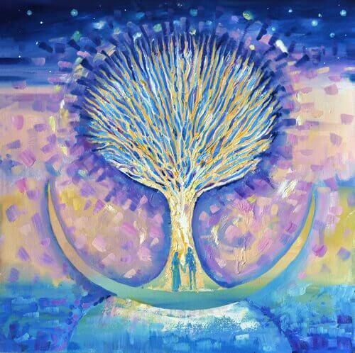 Man En Vrouw Die Hand In Hand Voor De Levensboom Staan En Een Belichaming Zijn Van Het Mysterie Van Aantrekkingskracht